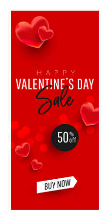 Vertical valentines day sale background design with 3d air love balloons decor on a red background with greeting text. Holiday banner, web poster, flyer, color brochure. Vector illustration