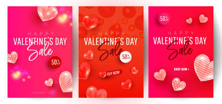 Beautiful stylish Valentines day sale background design set with 3d air love shapes decor on red background with greeting text. Promotion and shopping template 向量圖像