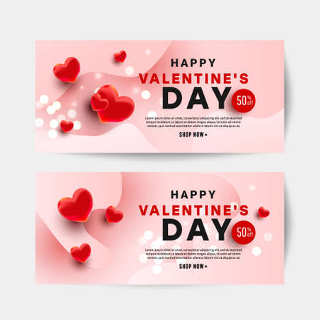 Realistc Valentine day vector design card set with hearts 50 percent discount text on pink background for website, invitation, postcard and sticker