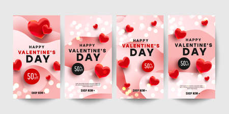 Trendy editable Valentine day vertical banner template set with red realistic hearts for banner, flyer, brochure, story or stories on social media. Vector illustration. 向量圖像