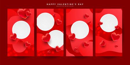 Trendy editable Valentines day vertical banner template set for banner, flyer, brochure, story or stories on social media, vector illustration 向量圖像