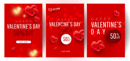 Shopping gift banner template set with realistic sweet love shape decor and 500 dollar numbers. Discount card coupon. Happy Valentine day concept, vector illustration 版權商用圖片 - 161925701
