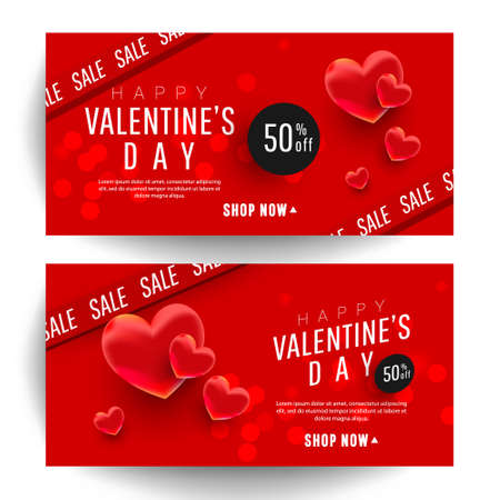 Valentines Day special offer banners with 3d shape hearts. Vector Illustration