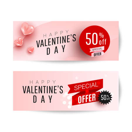 Beautiful stylish Valentines day sale background design set with 3d air love shapes decor on a pink background with greeting text. Promotion and shopping template 向量圖像