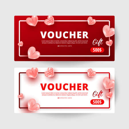 Shopping voucher gift card template set with realistic sweet love shape decor and 500 dollar numbers. Discount card coupon. Happy Valentine day concept, vector illustration