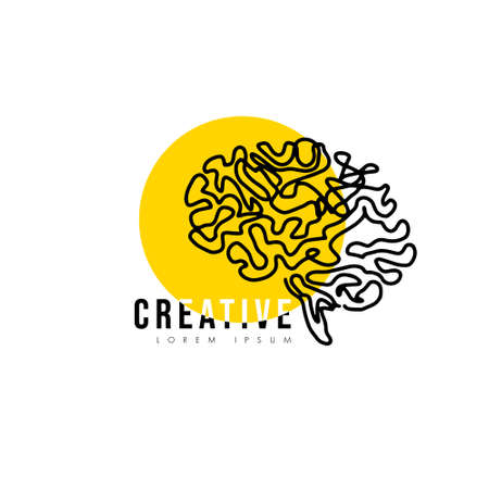 Creative line human brain vector icon with yellow circle illustration isolated on white background, Symbol of innovation, idea, mind, thinking, solution, education
