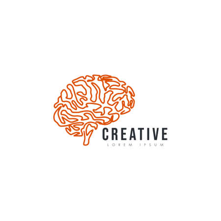 Orange brain vector icon illustration isolated on white background. Innovation symbol, idea, thoughts, thinking, solution, education concept 版權商用圖片 - 161925706