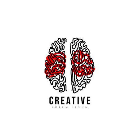 Brain line Logo silhouette design vector template. Creative think idea concept.