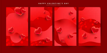 Valentine day love story shopping voucher gift cards template set with realistic sweet love shape decor. Discount card coupon.