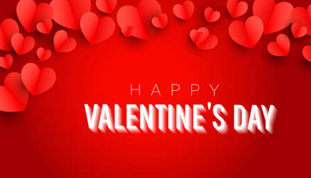 Valentines day background design with 3d air love decor on a red background with greeting text. 向量圖像