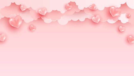 Valentines Day banner with pink heart shaped balloons. Holiday vector illustration, minimalistic stylish banner 向量圖像