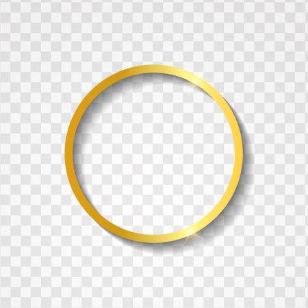 Minimalist metallic gold circle frame with text space on transparent textured 版權商用圖片