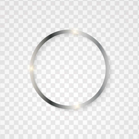 Metallic silver circle frame with text space on transparent textured. Elegant celebration event design.