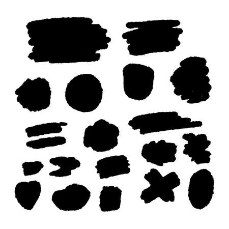 Black grunge brush stroke template set collection boxes isolated on white background