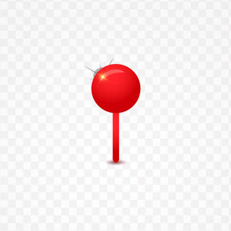 Red push pin isolated on a transparent background. Vector illustration 向量圖像