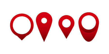 Red pin point icons set. Map location pointer isolated on white background. Vector illustration 向量圖像
