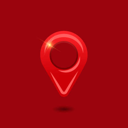 Red location mark icon. Pin vector icon isolated on red background. Vector illustration