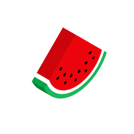 Red isometric watermelon isolated on white background, flat style. Vector illustration