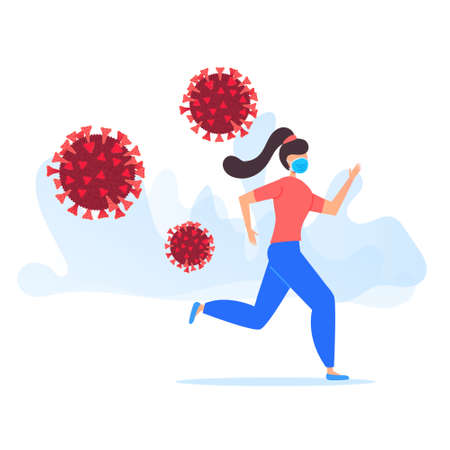 Young woman in protective mask in panic running away from the virus molecule.