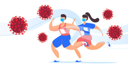 Young girl and man in sports uniforms and protective medical masks are fleeing a dangerous molecule from the  virus.  pandemic prevention concept.