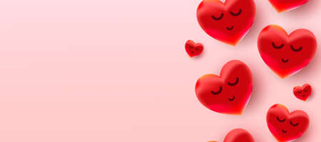 Valentine's Day background with air foil red balloons hearts pattern. Wallpaper, flyers, invitations, posters, brochures, banners. 向量圖像
