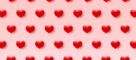 Valentine's day pattern background with 3d red hearts. Vector illustration 向量圖像