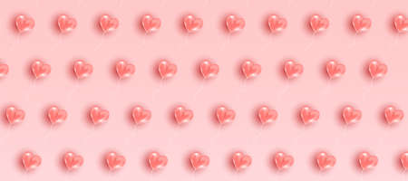 Valentine's day pattern. Romantic frame composition with pink flying hearts. Vector illustration background