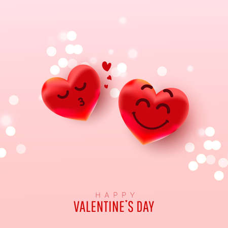 Valentine's day abstract background with heart balloons with cute faces gives an air kiss on a pink background
