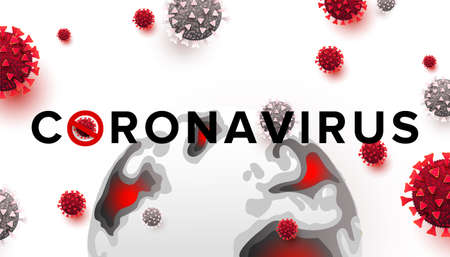 Stop Covid-19 banner. Coronavirus is crossed out with red STOP sign. Pandemic concept vector illustration on white background