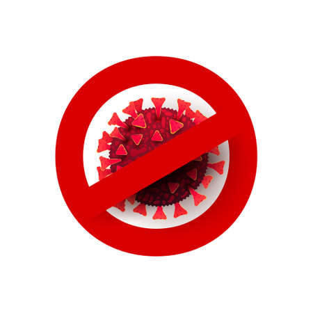 virus is crossed out with red STOP sign. World pandemic concept. 向量圖像