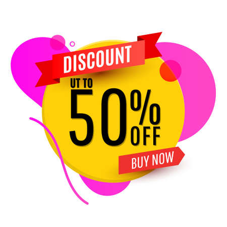 Sale 50 off round banner, discount tag design template in colorful for store marketing promotion. Vector illustration