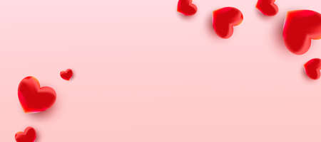 Valentines day background with air foil red balloons hearts pattern. Wallpaper, flyers, invitations, posters, brochures, banners. 向量圖像