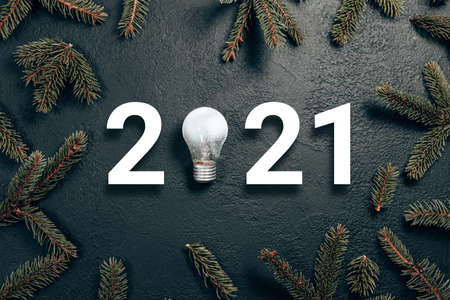 2021 idea minimal concept. White numbers with glass glowing light bulb and spruce branches on dark gradient background. Holiday composition