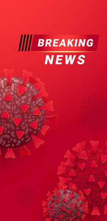 Breaking news screen world map background. Vector illustration. Banner template for broadcast channels or internet tv. Illustration