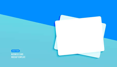 Plastic or paper white business card for design template with shadows on a blue background. Vector illustration