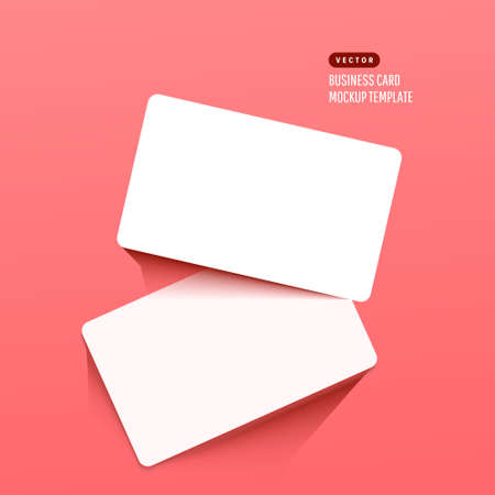 Horizontal white business cards on a bright pink background. Realistic mockup card. Illustration