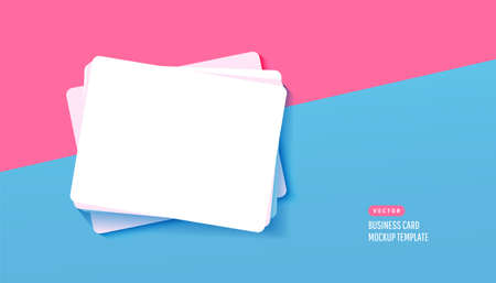 Paper white business card for design template with shadows on a blue background. Vector illustration. Flat lay, top view Illustration