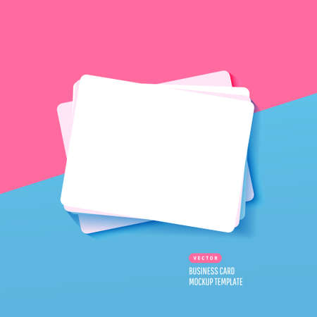 Corporate paper white business cards for mock up and design presentation on blue pink background. Vector illustration