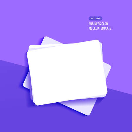 Mockup realistic credit, visit,gift card with shadow isolated on lilac background. Template for branding identity