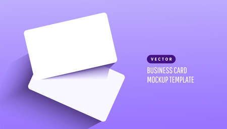 Two paper empty credit or gift cards with shadow on lilac background. Modern and stylish greeting card. Vector illustration