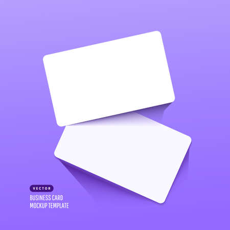 Two paper empty credit or gift cards with shadow isolated on lilac background. Modern and stylish greeting card