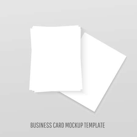 White blank business cards mockup realistic template mockup with shadows on grey background
