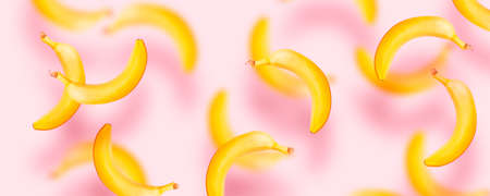 Flat composition of sweet bananas free falling in the air on pink background with copy space for your text. Top view. Food levitation concept.