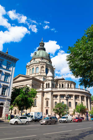 Budapest, Hungary - September 13, 2019: The facade and dome of the Basilica of St. Stephen in Budapest city, Hungary