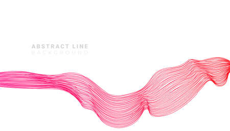 Colored red abstract fluid line sound wave on white background. Vector illustration. Vector Illustration