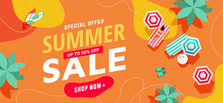 Summer sale text template bannerwith tropical beach, little people, umbrellas and beach accessories for posters, covers, wallpapers with place for text.