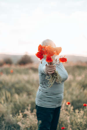 Caucasian woman hand holding a bouquet of poppy flower on meadow background at sunset