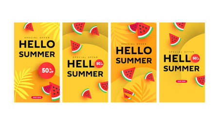 Summer sale banner stories template pack with sliced watermelon elements for social media. Colorful design templates