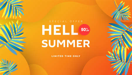 Hello summer sale banner design with tropical leaves and ripe watermelon slices on orange background, copy space for store marketing promotion.