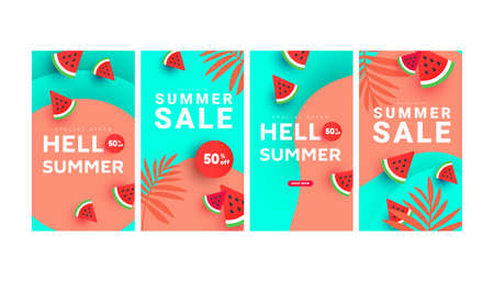 Summer sale banner stories art templates with floral tree, watermelon slices pattern and geometric elements for social media